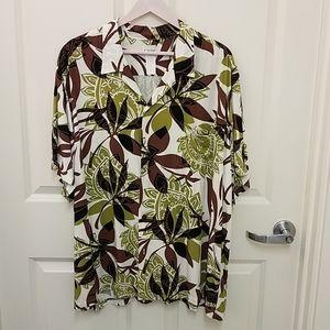 One Papaya Men's Button Down Hawaiian Shirt